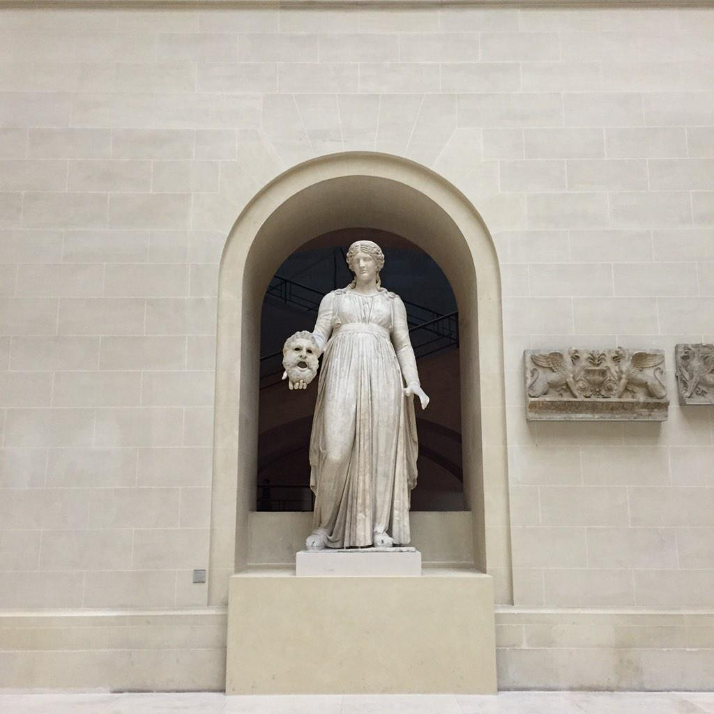 Melpomène, muse of tragedy, in @MuseeLouvre's newly reopened Cour du Sphinx. She picked an uncanny time to reappear. http://t.co/1ha7udb3s1