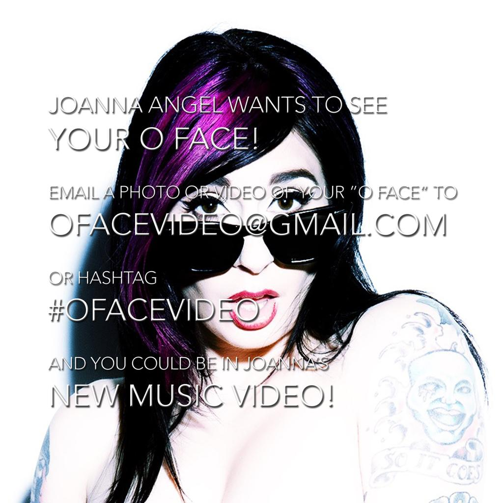 "Hash tag #ofacevideo to get your ""o face"" in my new music video with @JoannaAngel ! #ofacevideo #punk #porn #rocker http://t.co/xKE2qsPI7P"