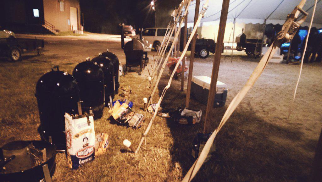 Camp Brisket, pits loaded w/CAB brisket &4 woods: pecan,hickory,oak & mesquite. @thewebergrill @webergrillsca @TVWBB http://t.co/i54pdPJGjk