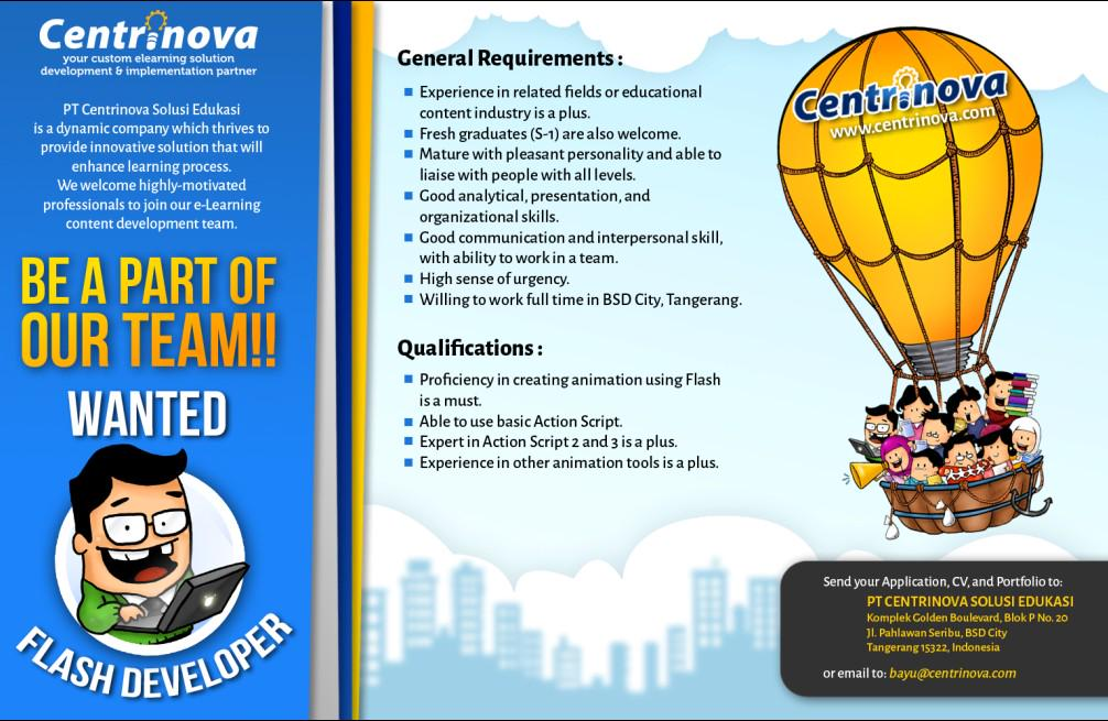 Info lowongan Flash Developer .. @InfoDKV @PolimediaMDN @ANM_polimedia @gnimotion @infoJATIASIH @JobStreetcom