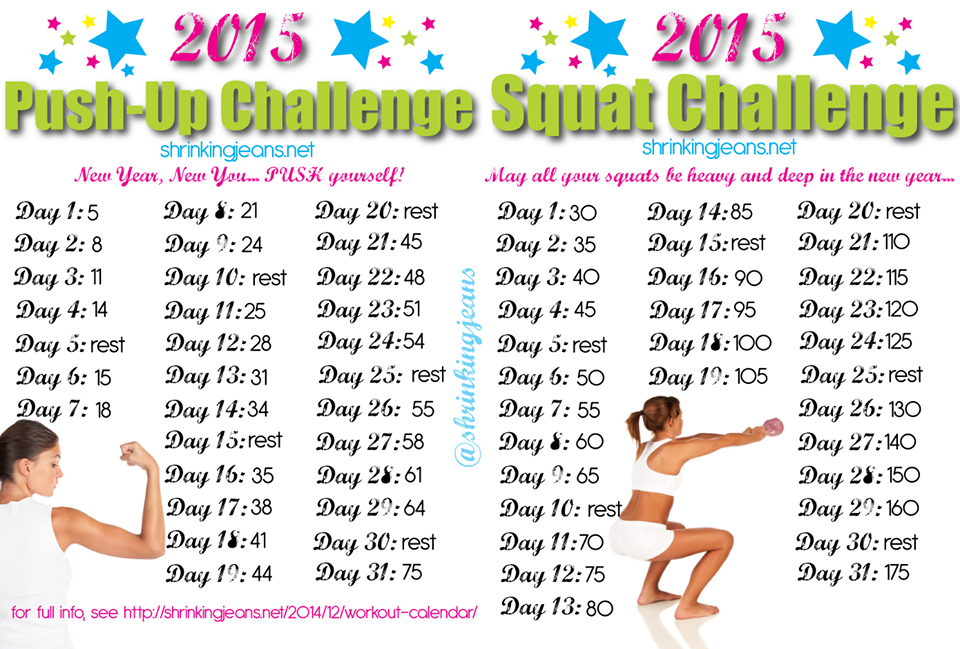 New Year, New You: A 31-Day Squat and Push-up Challenge {monthly workout calendar} http://t.co/oRix0VvM2f http://t.co/pFS5RBTwR6