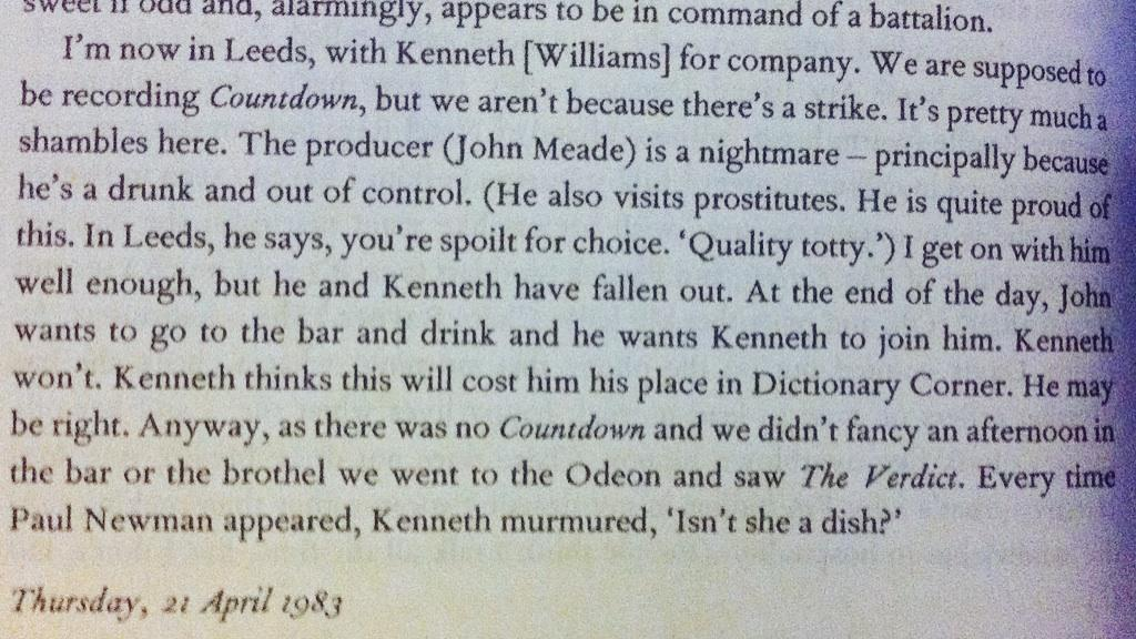 More from Gyles Brandreth's diary. Ructions behind the scenes of Countdown, 23 March 1983. http://t.co/oiPvFxN8E6