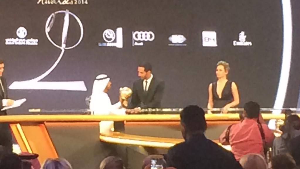 Congratulations to @MedhiBenatia! Winner of the Best Arab Player 2014 award @Globe_Soccer awards! #GSAAtlantis http://t.co/g20oemiyZ0