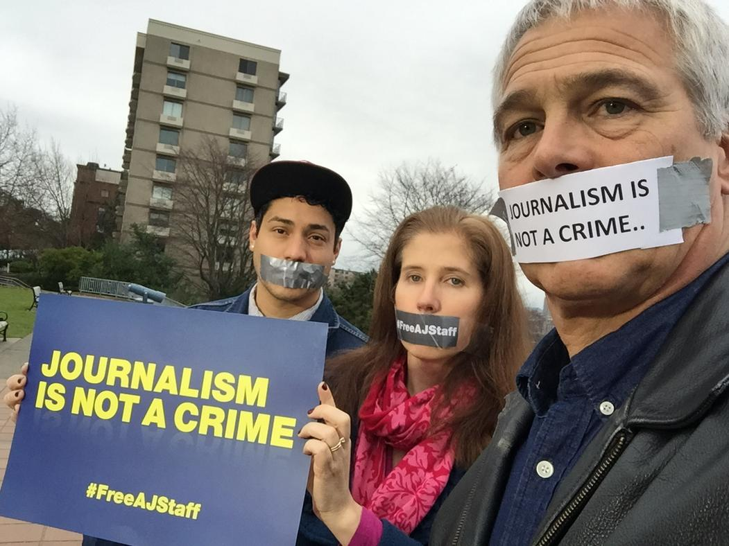 A year in prison in Egypt for 3 of our  colleagues.. #freeajstaff Seattle Bureau joins the silent chorus.. http://t.co/uO6gPrpZZ7