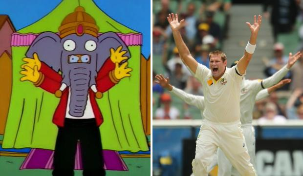 I've REALLY got to stop comparing everything I see in real life to The Simpsons. But in meantime... #AUSvIND #ganesh http://t.co/j1Ech1bs8o