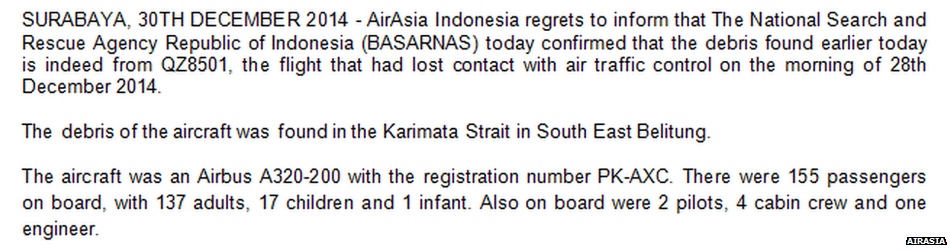 #AirAsia statement confirming debris in Java sea is from missing #QZ8501 http://t.co/ms96gGP5O7 http://t.co/MUXFeVVTcx