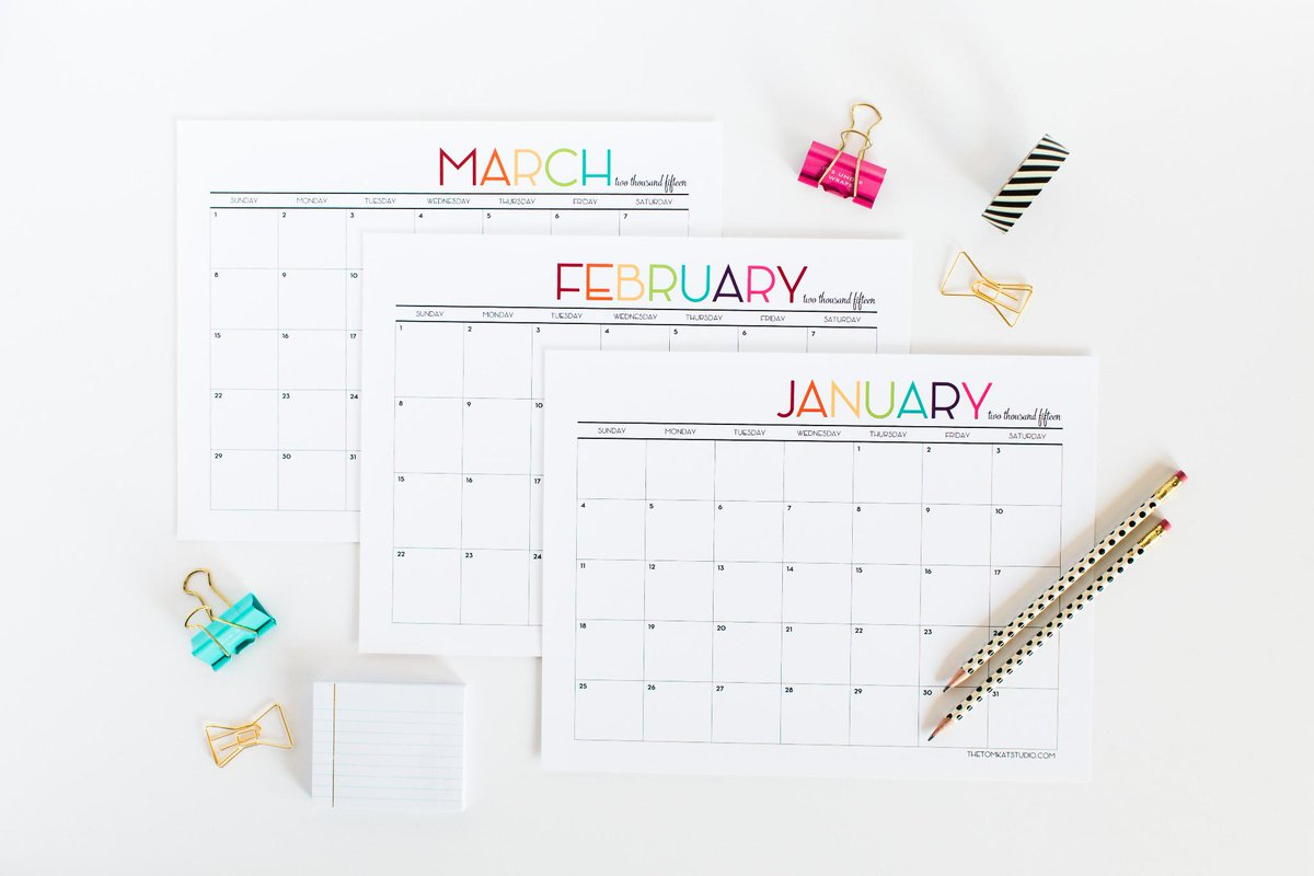 Printable 2015 Monthly Calendar is now available! Get it here: http://t.co/vAUCbKnMQX #tomkatstudio http://t.co/X64oJ7Xx3d