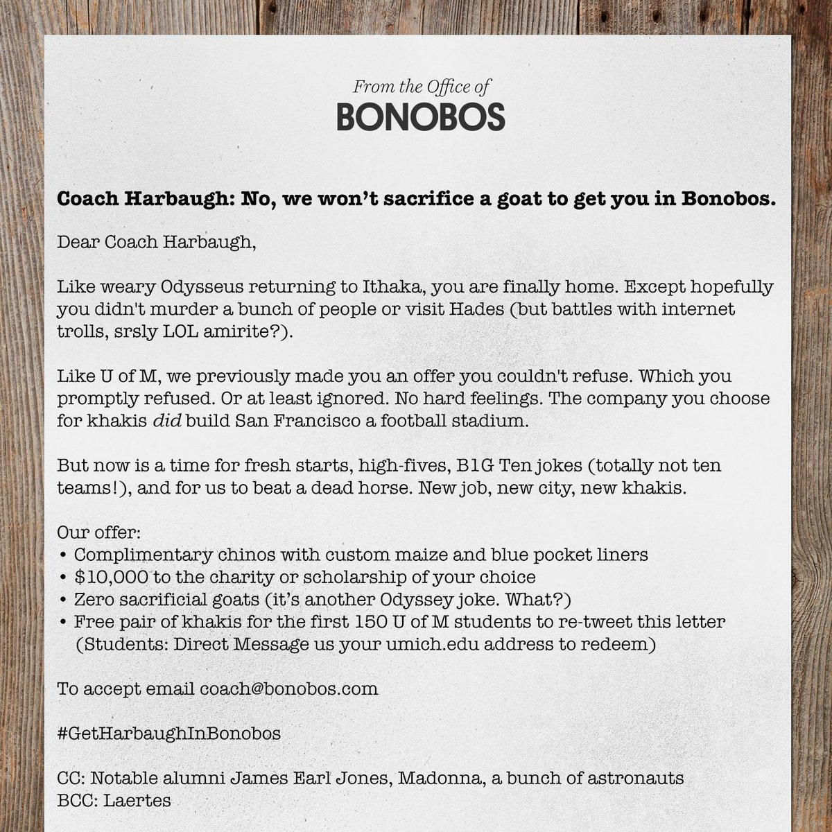 Another Open Letter to Coach Harbaugh. RT and help us #GetHarbaughInBonobos http://t.co/r2sopvMrc3