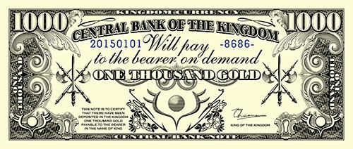 【架空紙幣お年玉】春原ロビンソン先生(@haruhara)の漫画『戦勇。』をイメージして創作した1000ゴールド紙幣をセブンイレブンのネットプリントに上げました(非公式)。番号78749724、期限2015年1月7日です。 http://t.co/HGPZRPFLpa