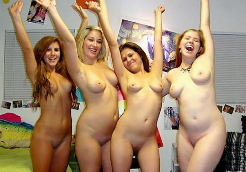 Naked brown haired women