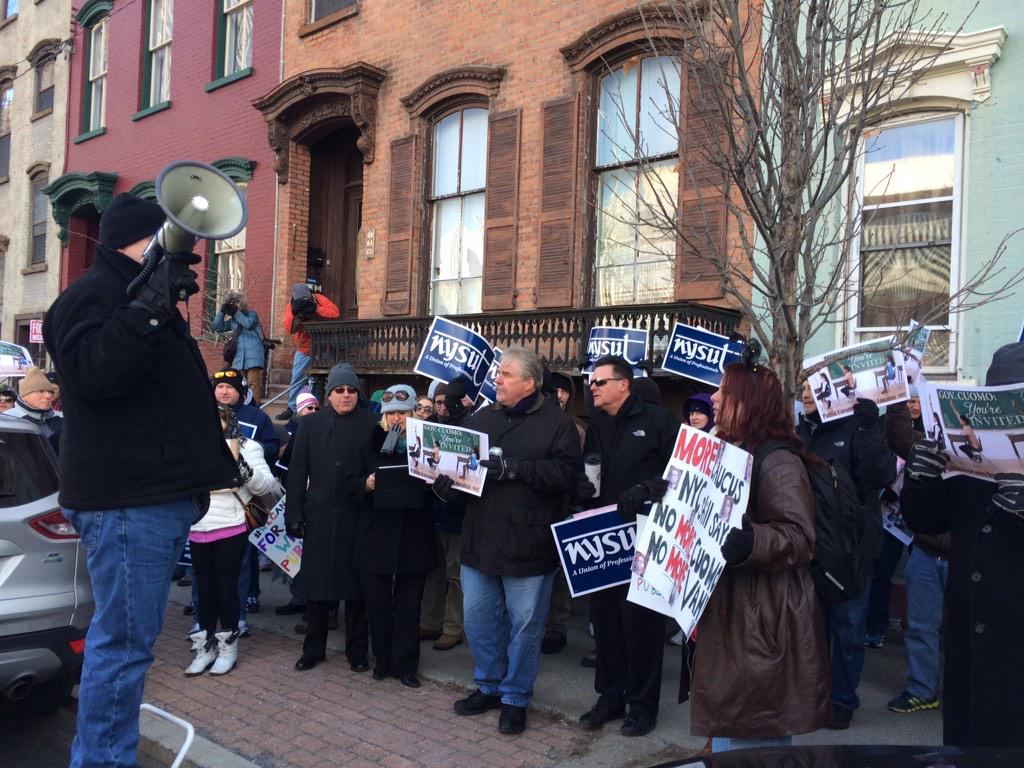"""""""Our public schools are not for sale,"""" about 100 @nysut members cheer in response to speaker at rally on Eagle Street http://t.co/vxDouGvB5g"""
