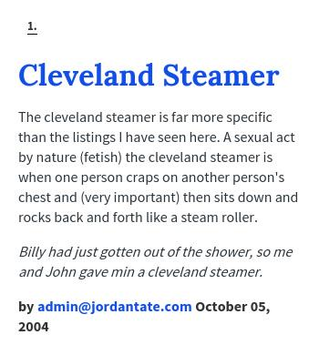 Cleveland steamer meaning