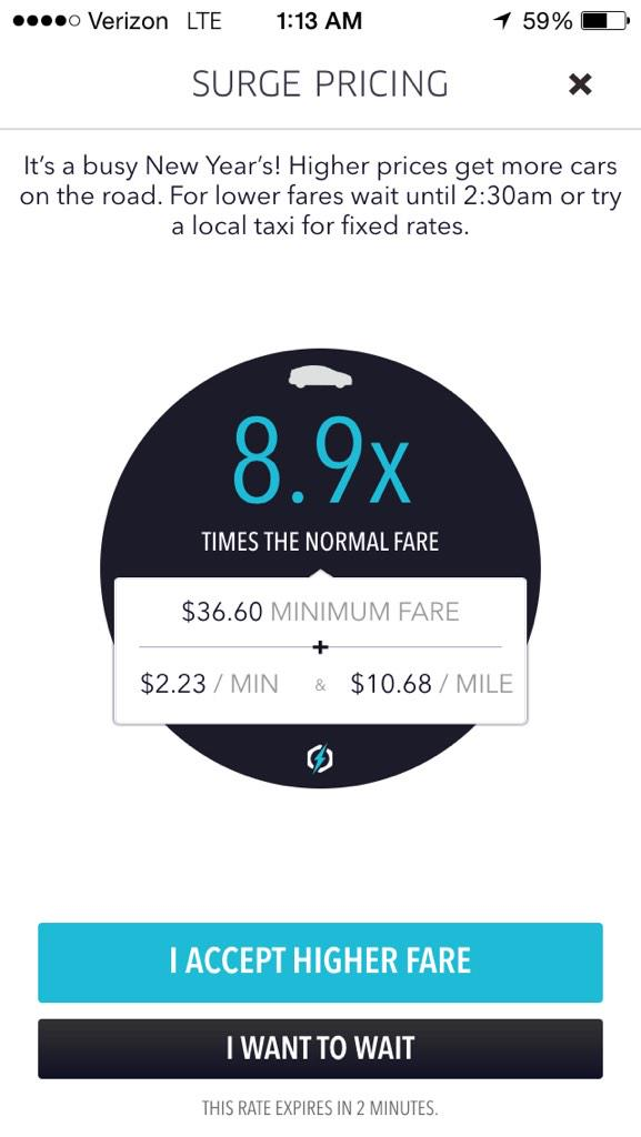 @Uber you're charging 8.9x standard fare?! In what world. It's laughable.  @USATODAYmoney @KCStar #ubersurgepricing http://t.co/yYjtoxVJ5V
