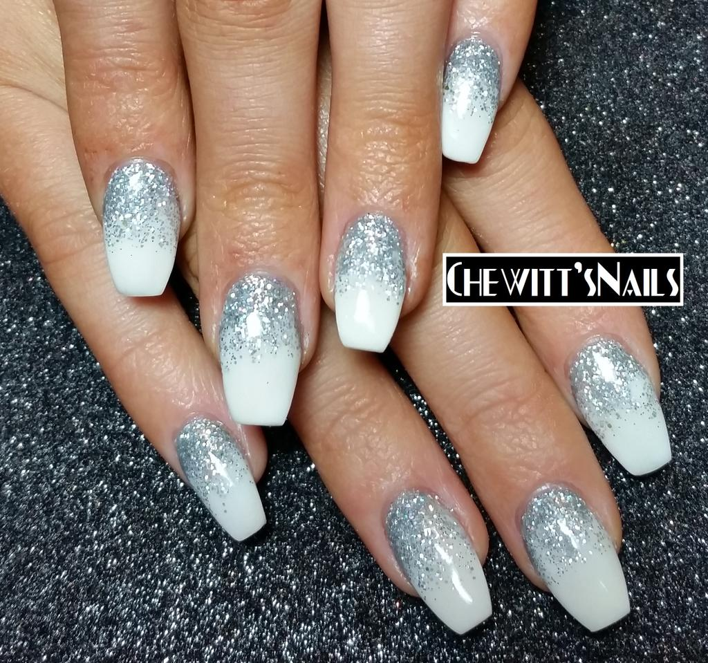 ChewittsNailsBeauty On Twitter Silver Sparkle White Gradient Ballerina Acrylics Justbexx Chewittsnails Acrylicnails