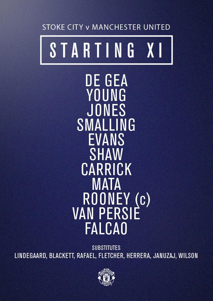 United XI: De Gea, Young, Jones, Smalling, Evans, Shaw, Carrick, Mata, Rooney, van Persie, Falcao #mufclive http://t.co/2Tls9wD7Qw