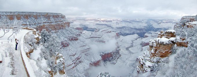 RT @GrandCanyonNPS: Happy New Year! As of 10am all South Rim #grandcanyon roads are open. All roads snow-packed