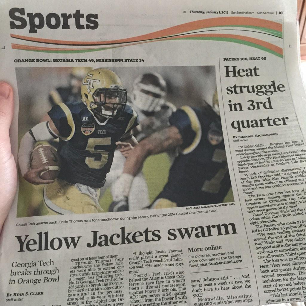 Front page Sports section of the Sun Sentinel @GeorgiaTechFB http://t.co/5QwQ6AMFZT
