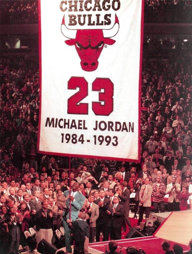 chicago history on twitter michael jordan having his jersey number retired hung to the. Black Bedroom Furniture Sets. Home Design Ideas
