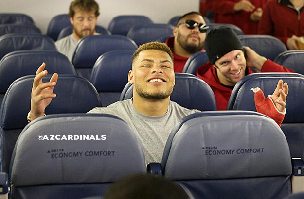 Looks like @Mathieu_Era is ready to fly to Carolina, so the #AZCardinals are on their way. #AZvsCAR http://t.co/ogVKrEMxJX