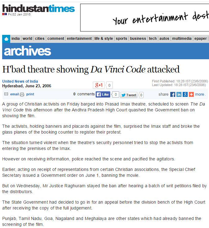 Thumbnail for Only Hindu orgs protest against films, attack theatres ?