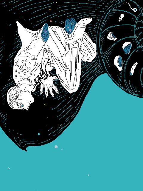 #フォロワーさんのイラストを自分の絵柄でリメイクする 明けましておめメタァ!降旗(@yhuruhata)さんのホルマジオを描かせていただきました。jojoワンドロのお題にマジオが出たときの絵ですね。貝の内側のピカピカを描きたかった。