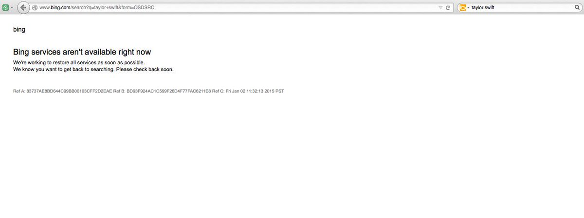 Has anyone noticed that the Bing and Yahoo search engines are DOWN? http://t.co/ldjSlHPKqI
