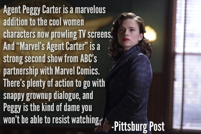 """""""@SuperheroFeed: First wave of 'AGENT CARTER' reviews are in, and they're looking great! http://t.co/KudBahCkeg"""" @HayleyAtwell @BitchFlicks"""