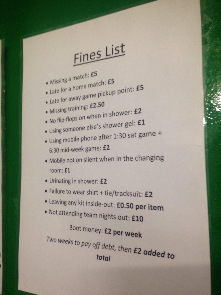 As football fine-lists go, Blyth's takes some beating. Spending a penny costs £2