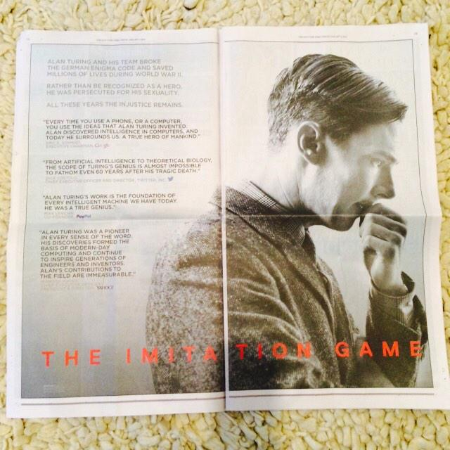 Instead of NYT, Variety etc The Imitation Game ad quotes heads of Google, Twitter, PayPal, Yahoo. http://t.co/ynPadrjzYO