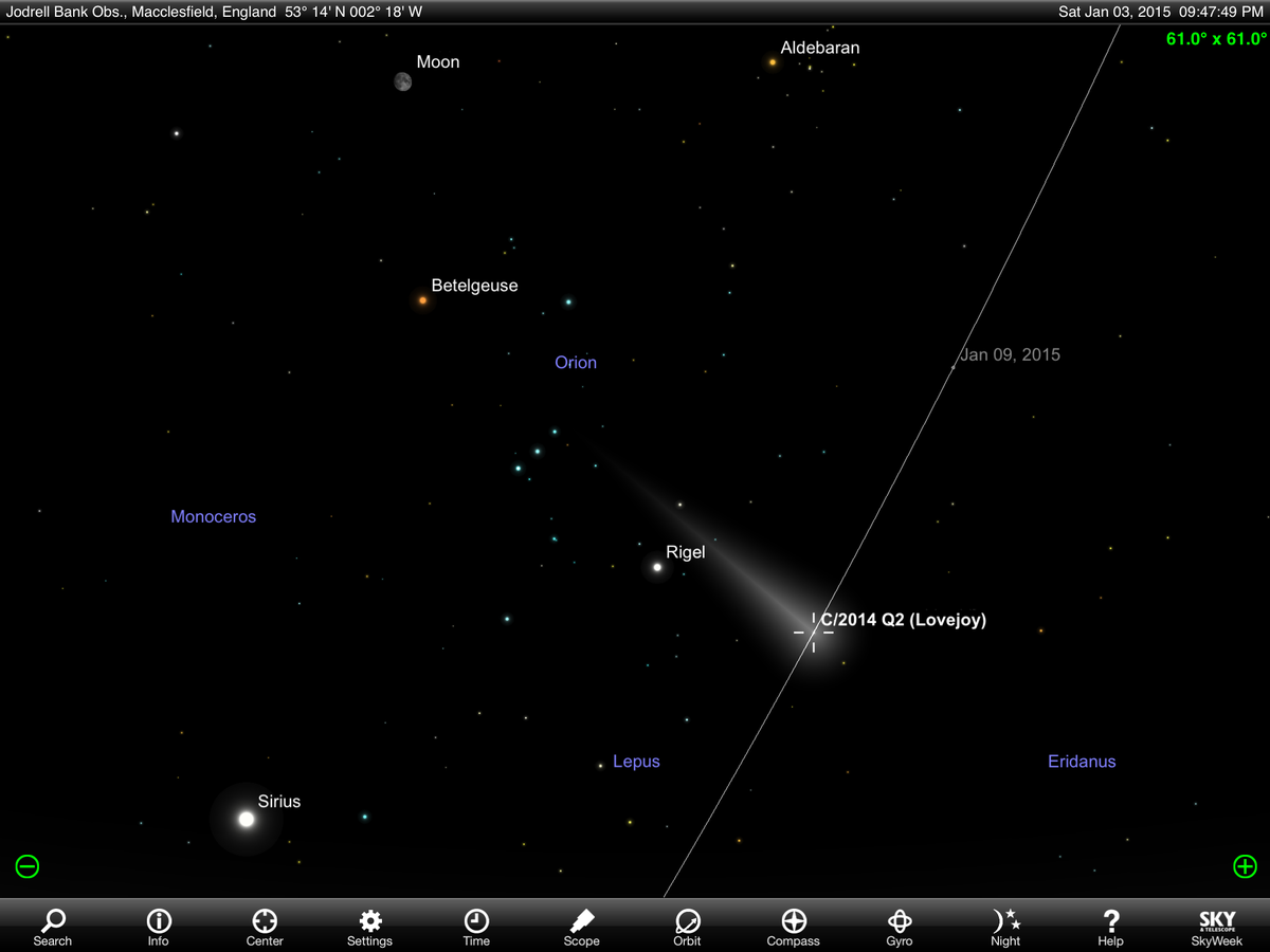 Got some binoculars & fancy a challenge? Try spotting Comet C/2014 Q2 #Lovejoy near Orion. Look for fuzzy blob. http://t.co/yiDhCB2kUI