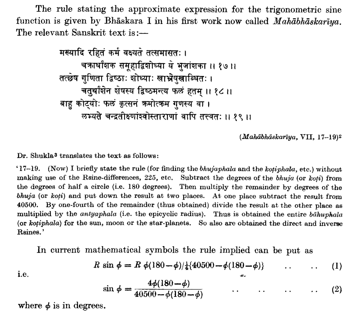 Bhaskara I had an interpolation formula for sine. And a wonderful formula too. http://t.co/INInIe5a8R