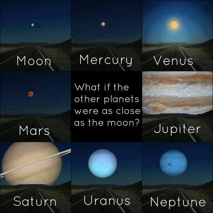 Ilustrasi jika planet-planet lain sedekat Bulan kita : pic.twitter.com/4w2FvlKuo2 Retweet !! jika kamu kagum !