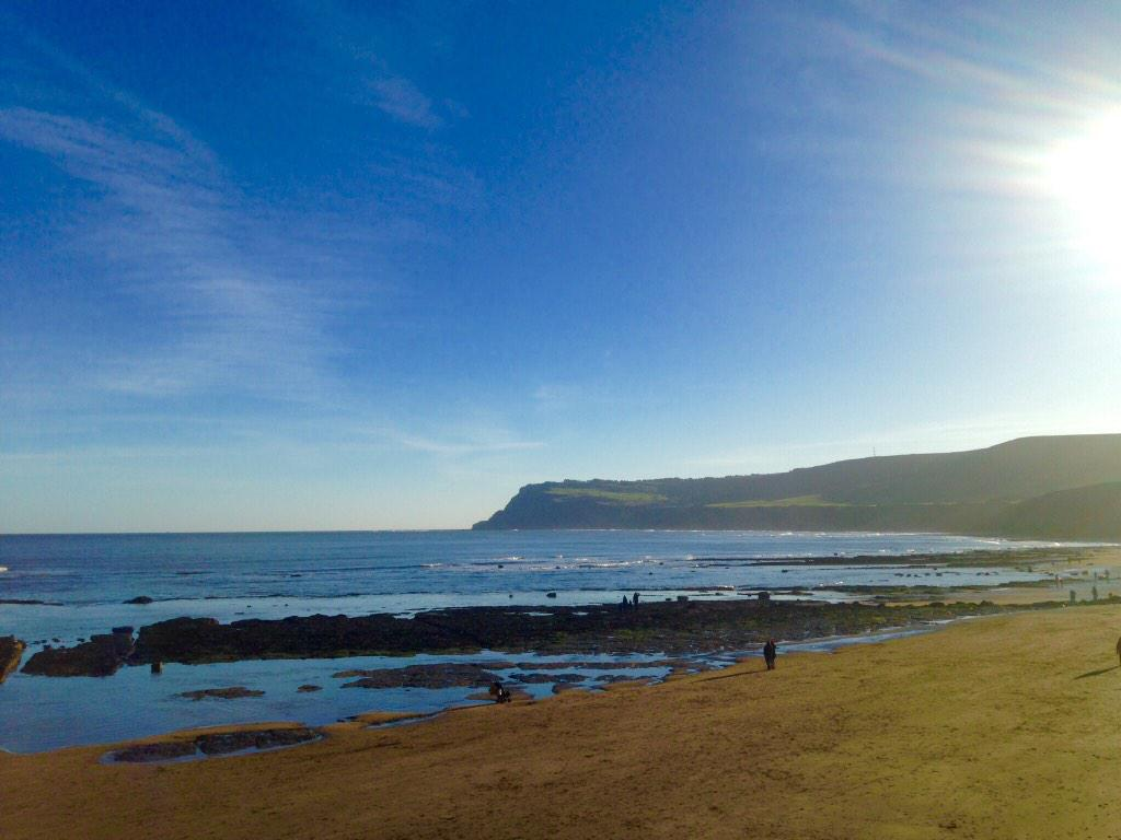 The beach at Robin Hood's Bay today. Just gorgeous. #northyorkmoors http://t.co/0wBlRM3L06