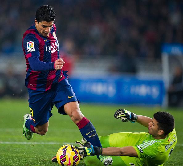 Luis Suarez Against Sociedad Goal Keeper - FlyBarca