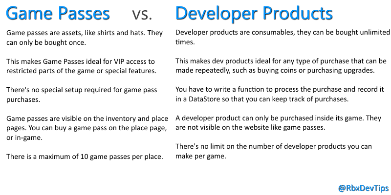 Roblox Dev Tips On Twitter Game Passes Vs Developer Products