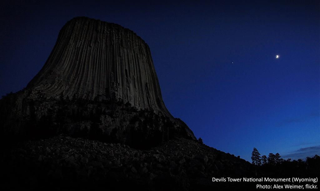Tweet from the Wilderness Society. Devil's Tower National Monument, in Wyoming, at night.