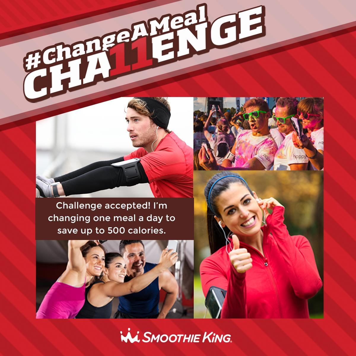 #ChangeAMeal with 1 of 11 Meal Replacement Smoothies. RT to sign-up and be entered to win Smoothie King gift cards! http://t.co/x0pBJj0N3w