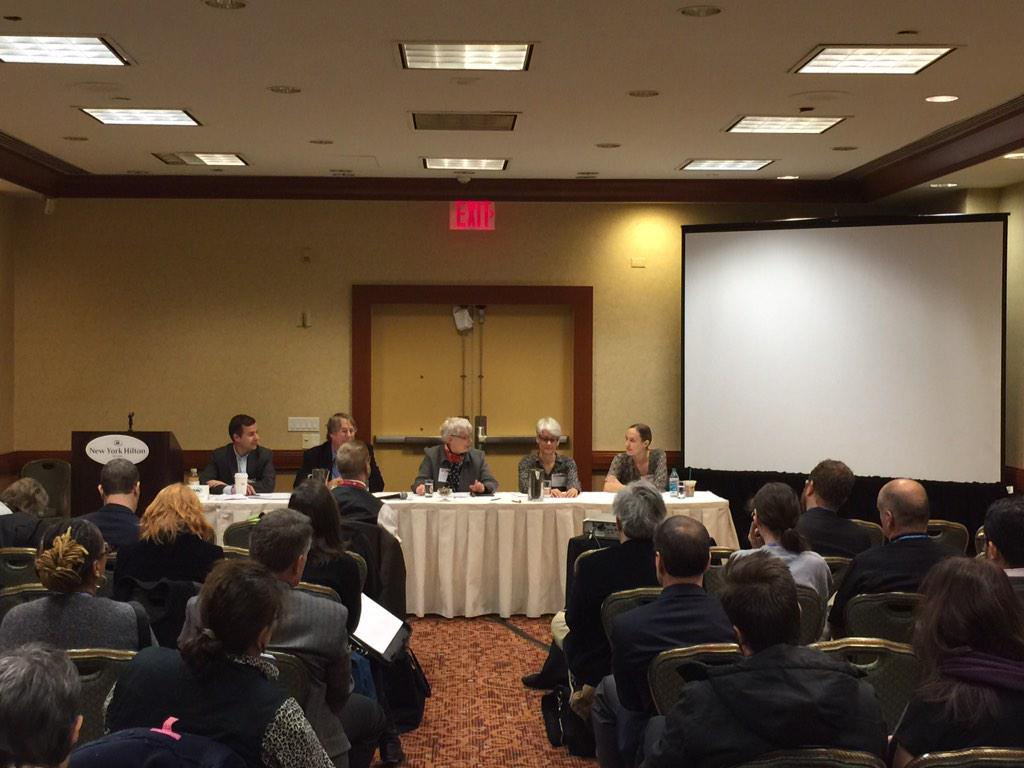 The #s294 #AHA2015 panel. L to R: @DavidEbershoff, Ray Arsenault, @WStrothman, Deanne Urmy and Caitlin Fitz. http://t.co/bS9gP0FbzG