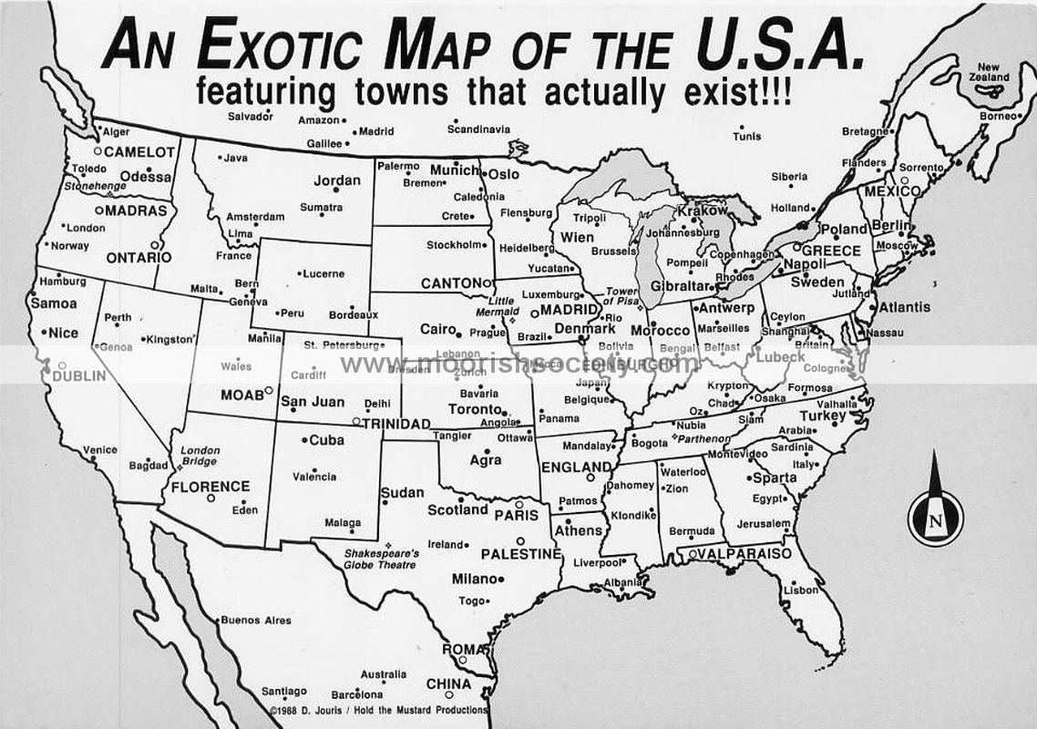 T O P On Twitter An Exotic Map Of The U S A Featuring Towns