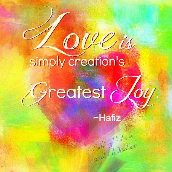 #Love is simply creation's greatest #JOY! #Hafiz   #JoyTrain #Love #Kindness #Quote #MentalHealth #Mindfulness #GoldenHearts #IAM #Quote #FamilyTrain #ChooseLove #kjoys00 #IAMChoosingLove  #TuesdayMorning #TuesdayThoughts #TuesdayMotivation RT @CrowdKind