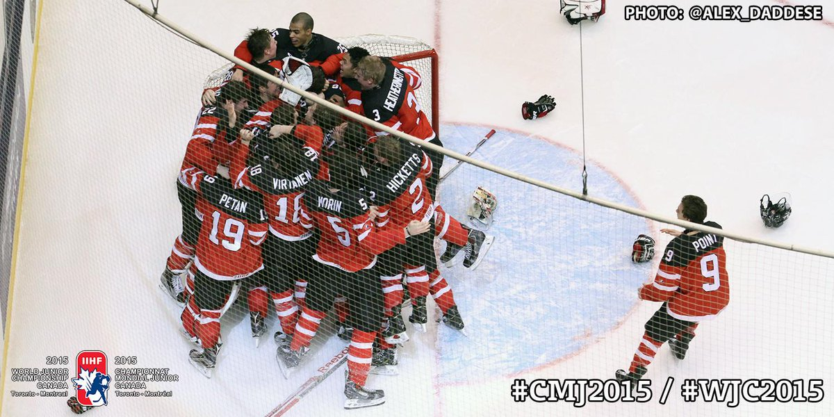 #WJC2015 | Canada wins the 2015 World Junior Championship and ends their gold medal drought. #CANvsRUS #GoldMedalGame http://t.co/J6QLJxpfhh