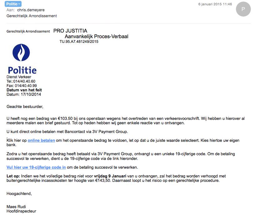 Nieuwe scam doet de ronde. Doet zich voor als mail van de politie. Niet intrappen. cc @fodeconomie http://t.co/sK0JoekqJO