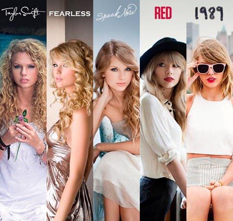 Taylor Swift vs Fearless vs Speak Now vs RED vs 1989. http://t.co/u92kkMCOgf