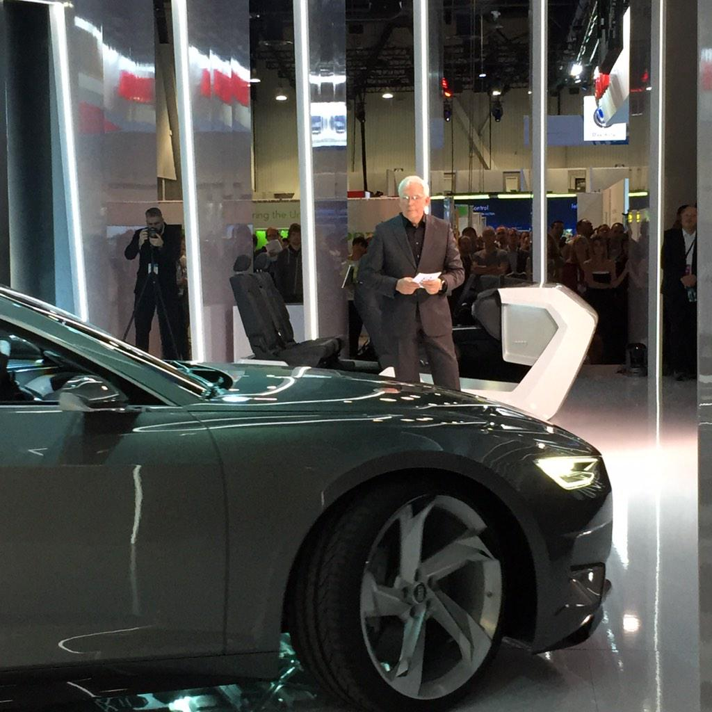 #Audi #CES2015 Dr. Hackenberg drives the Prologue on stage with his watch. http://t.co/4FAOKJ6GKE