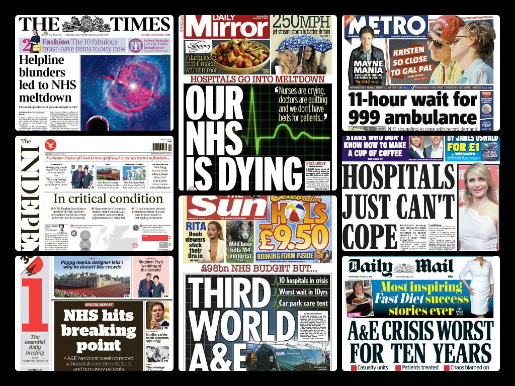 """@labourpress: Tomorrow's papers - but still Cameron claims there's no A&E crisis - our NHS needs a Labour government http://t.co/cOa82pJvrc"