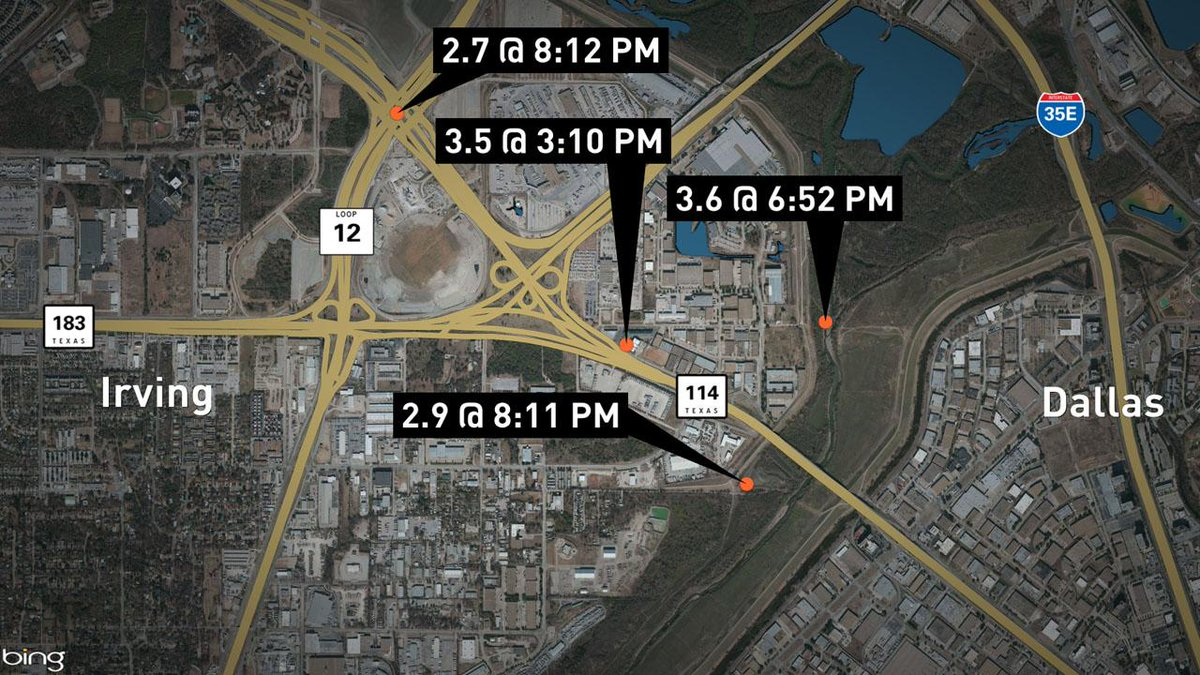 WFAA Channel 8 map of four quakes confirmed by 10:00 p.m. news casts, showing how close the quakes are in proximity to each other and the site of the old Cowboys Football Stadium.