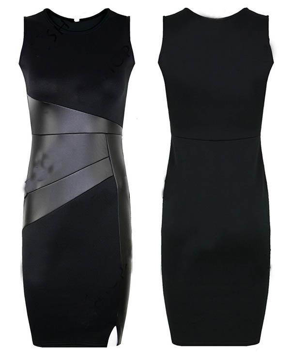 черное платье с кожаной вставкой фото