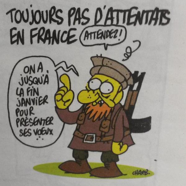 Ultimo dibujo de #Charb donde menciona q aún no había atentados en Francia pero que había que esperar #CharlieHebdo http://t.co/WVf1ZNz7uR
