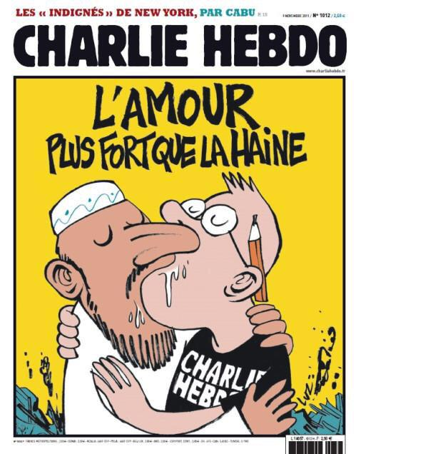 """When free speach die, we die. All thoughts to #CharlieHebdo who on this issue wrote """"Love is stronger than hate"""" http://t.co/IizcmJJVOD"""