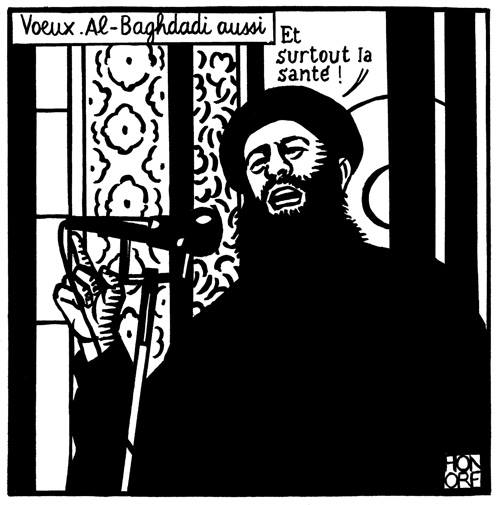 #CharlieHebdo's last post before attack: satirical take on Al Baghdadi and #IslamicState: Ah, best wishes, by the way http://t.co/Xd0Xs5NPKO